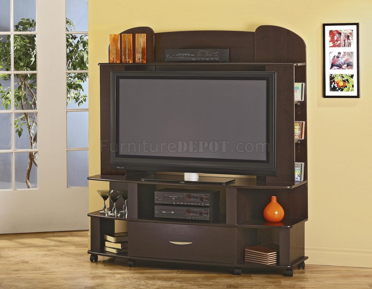 Cappuccino Finish Modern Entertainment Center W Castor Base