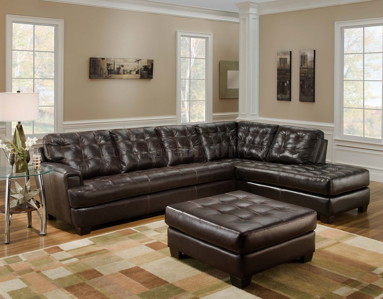 Chicory Brown Tufted Top Grain Leather Modern Sectional Sofa