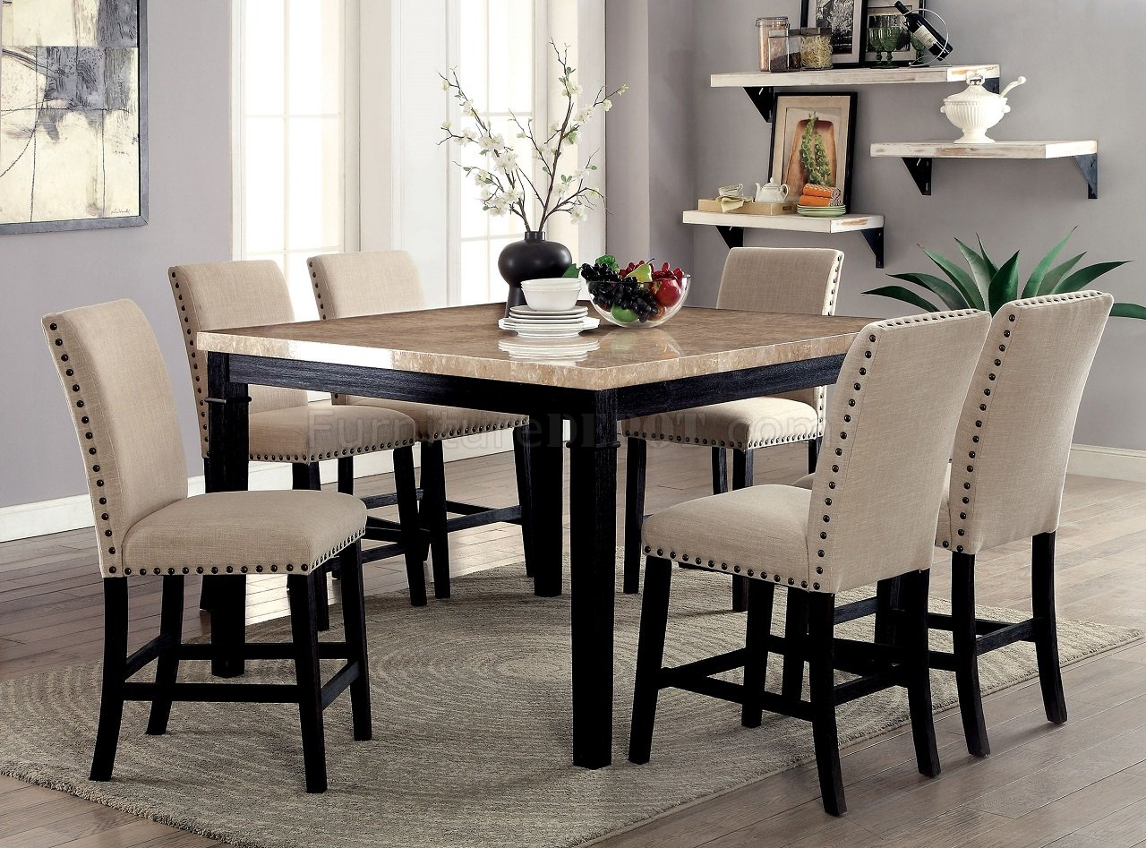 Dodson Ii Cm3466pt 5pc Counter Height Dinette Set W Faux Marble