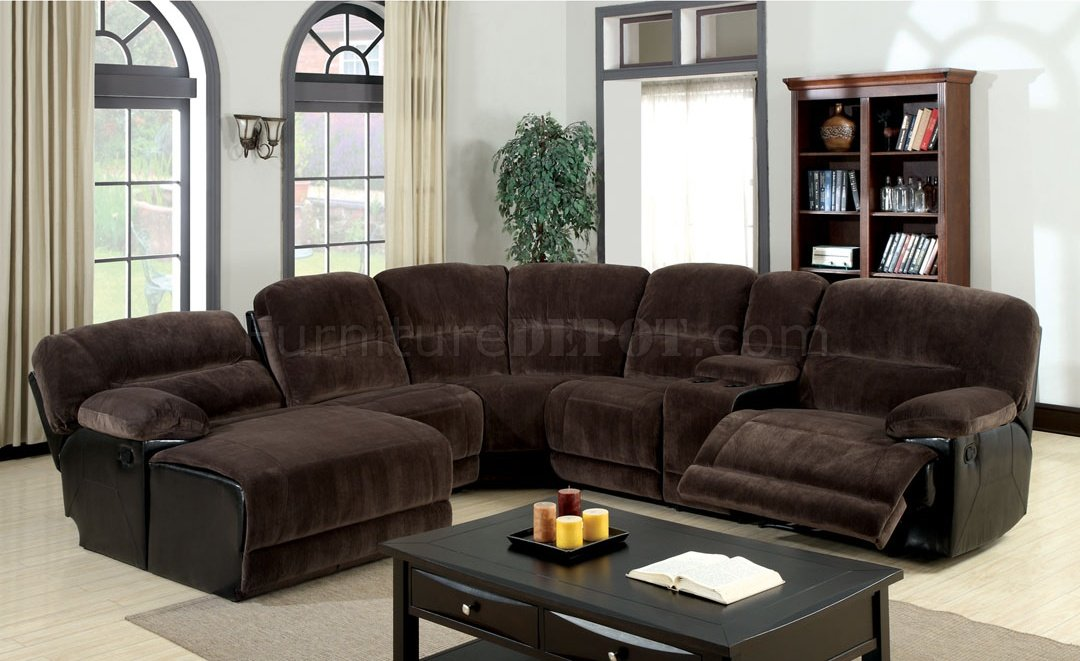 Glasgow Motion Sectional Sofa CM6822 In Brown Microfiber