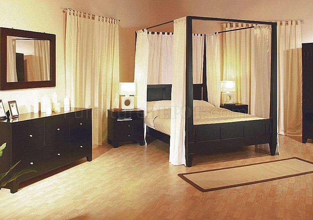 Dark Cappuccino Finish Contemporary 6pc Bedroom Set W