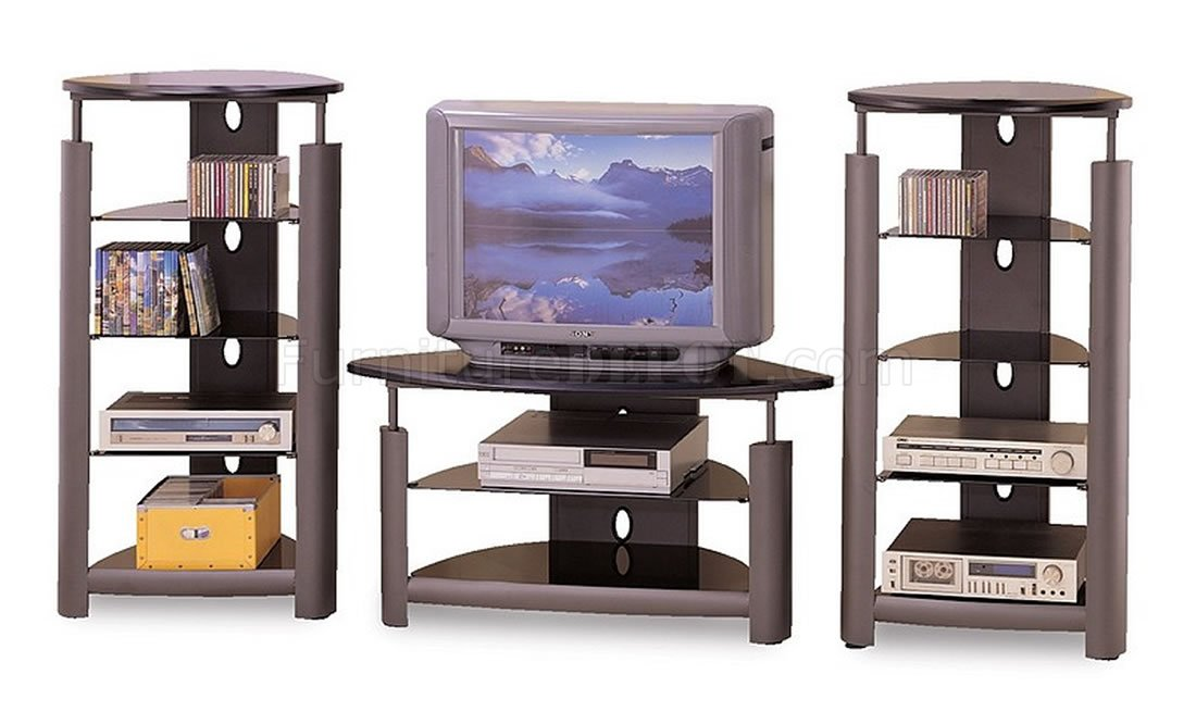 Silver Black Contemporary Tv Stand W Glass Shelves