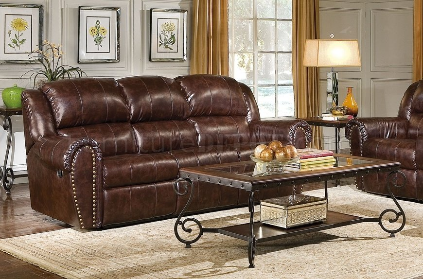 Cognac Brown Bonded Leather Sofa U0026 Chair Set W/Reclining Seats