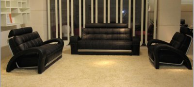 Bentley Black Bonded Leather 3Pc Sofa Set by VIG