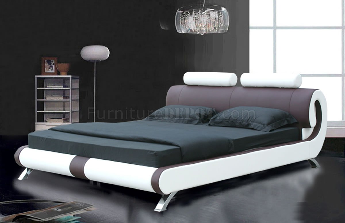 Coffee Brown & White Leatherette Modern Bed w/Curved Headboard