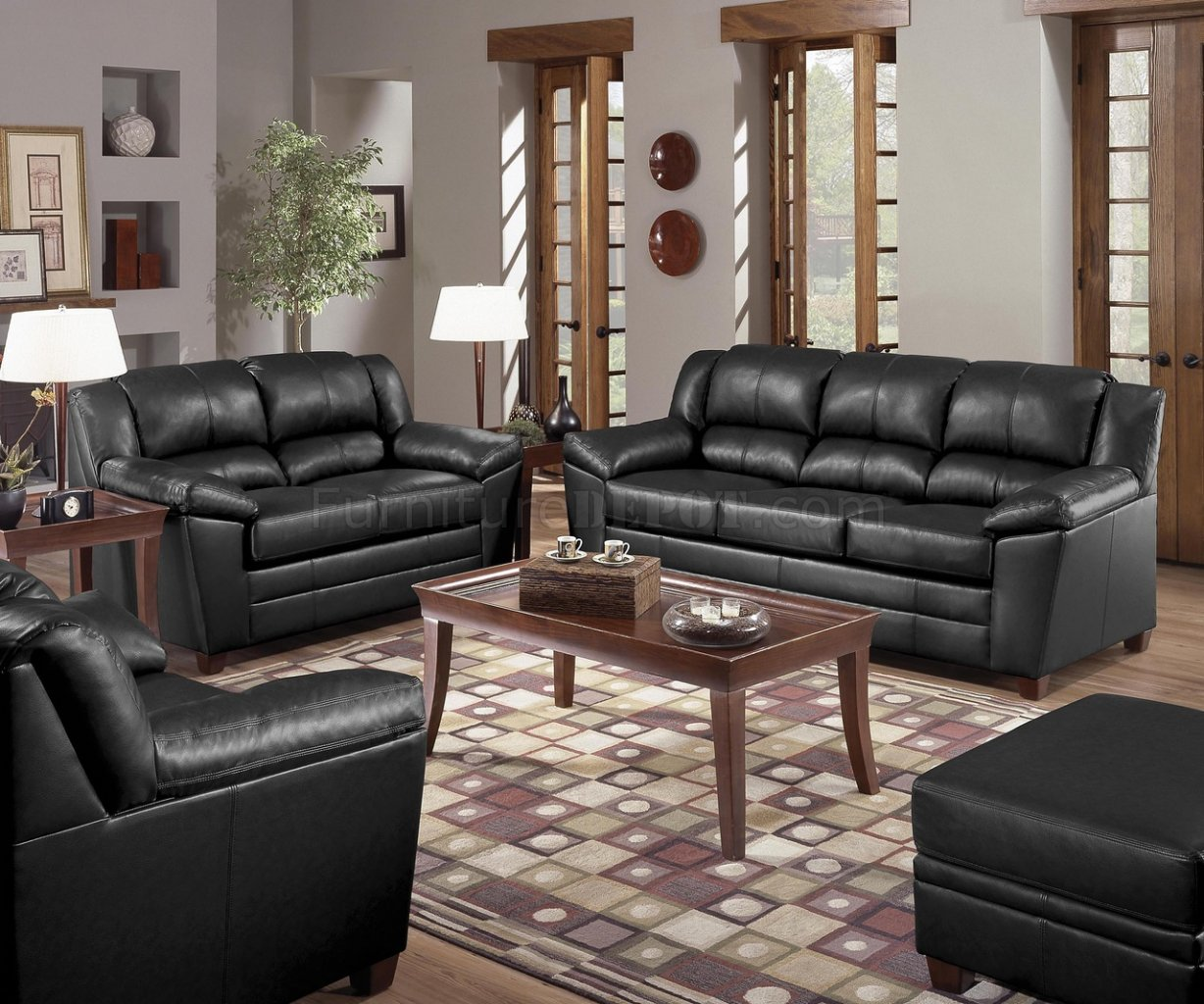 Black Bonded Leather Living Room W Baseball Stitch Seams