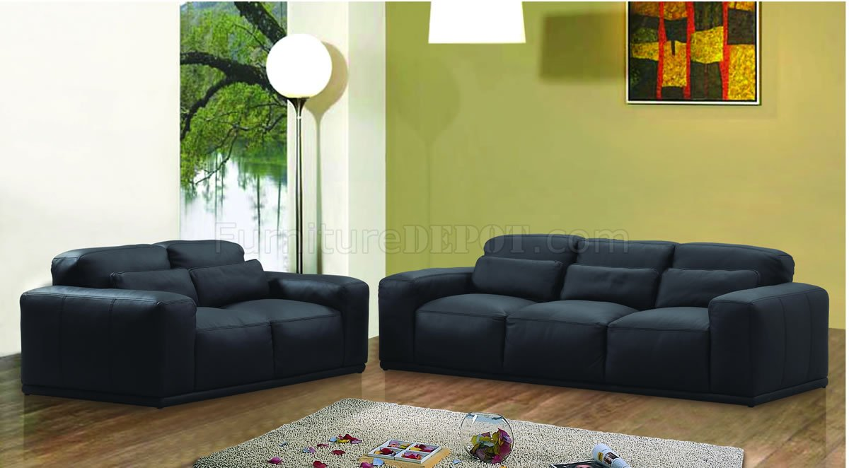 Black leather oversized modern living room set for Black living room furniture