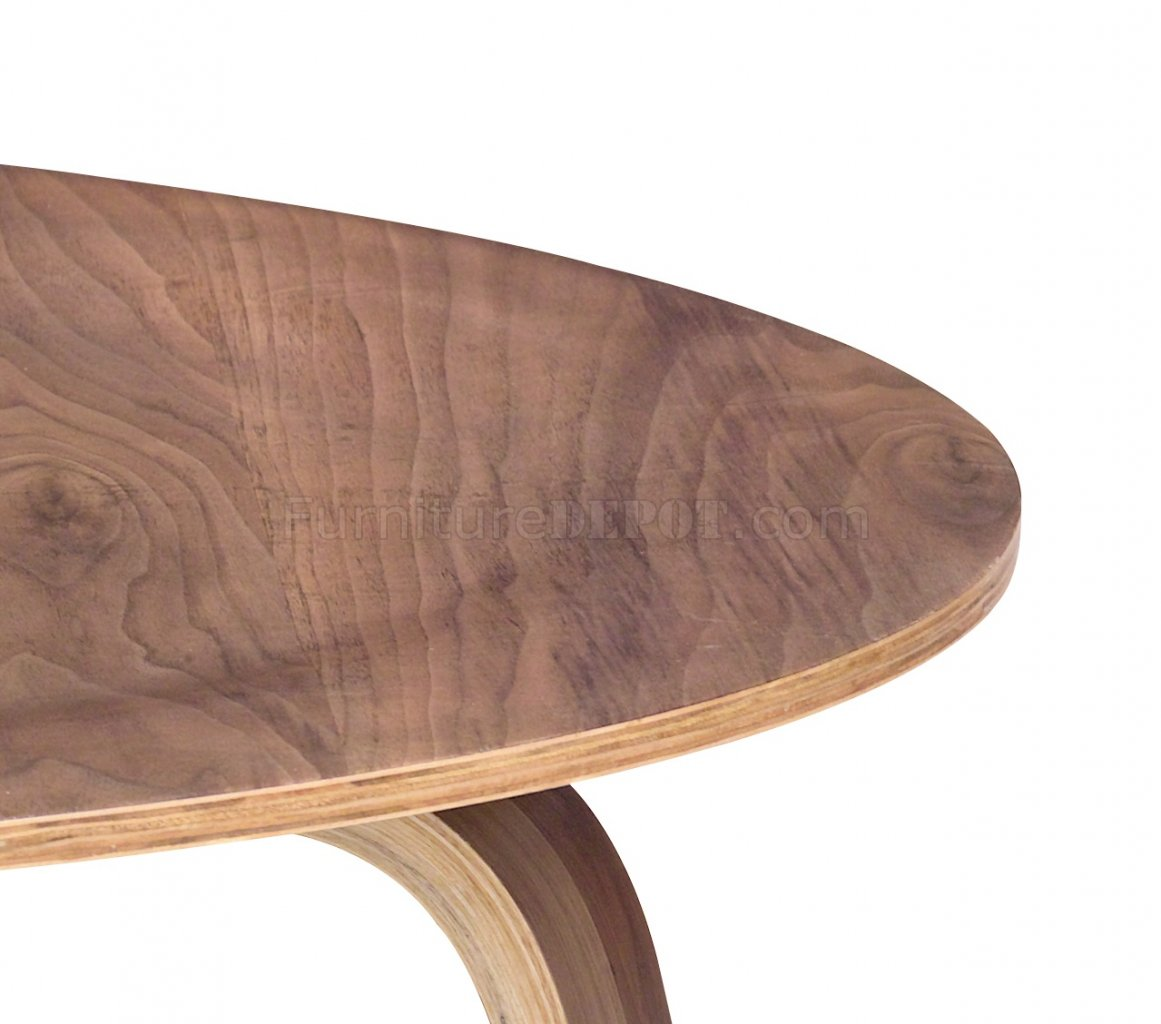 Walnut Finish Bent Wood Modern Coffee Table
