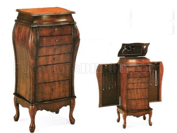 Antique Cherry Finish Elegant Jewelry Armoire w6 Drawers