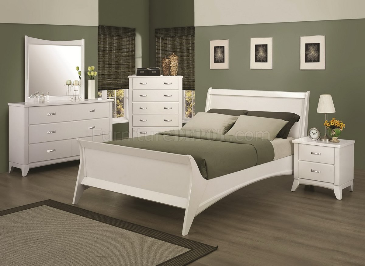 Smooth white finish transitional bedroom w optional items for Transitional bedroom furniture