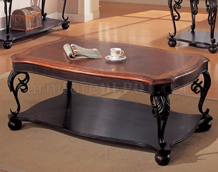 Two Tone Cherry Stylish Classic Coffee Table With Leaf Design