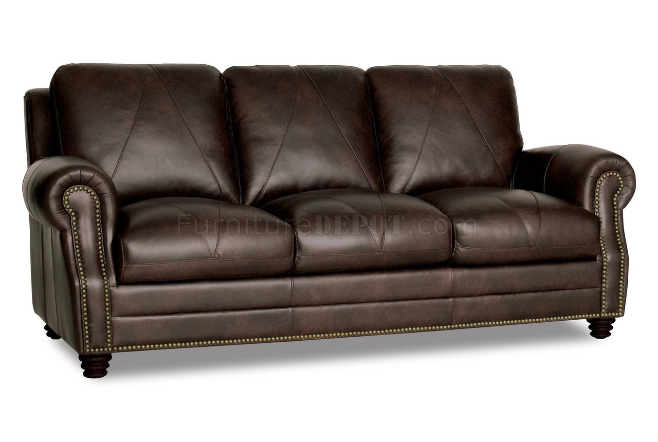 Solomon Sofa Loveseat Set In Brown Full Italian Leather