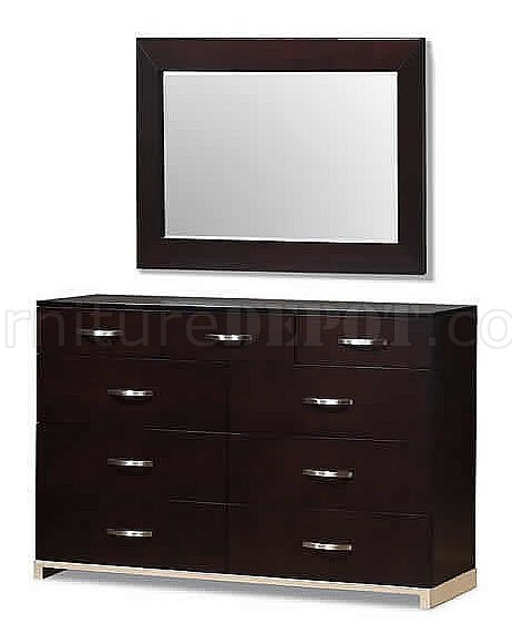 Rich Cappuccino Finish Contemporary Nine Drawer Dresser