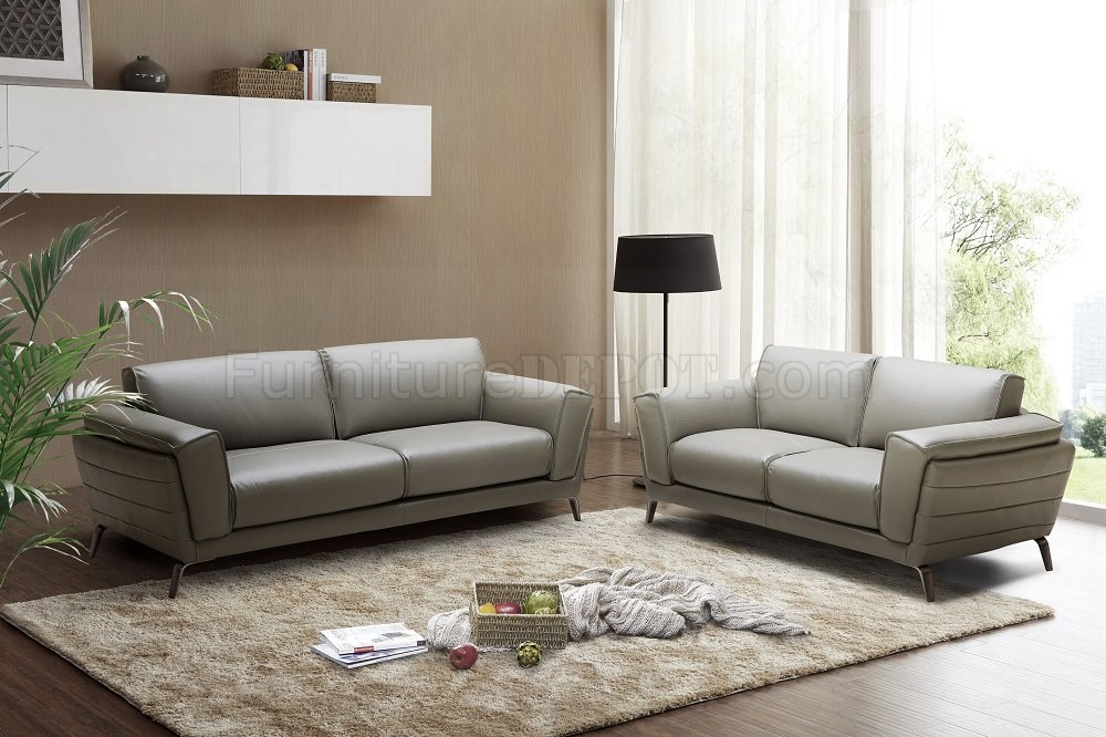 berlin sofa loveseat set in grey leather by j m w options. Black Bedroom Furniture Sets. Home Design Ideas