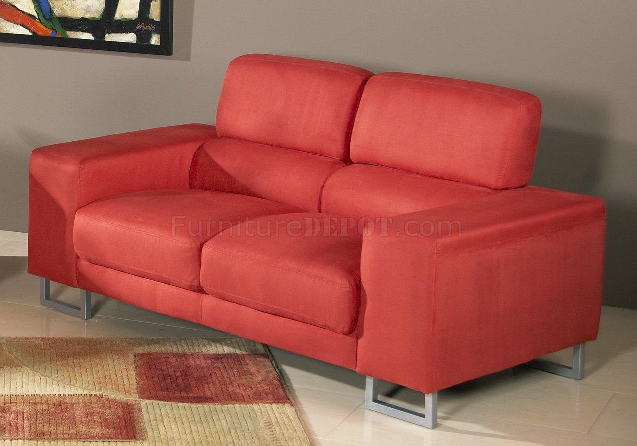 Red Microfiber Modern Sofa Loveseat Set W Metal Legs
