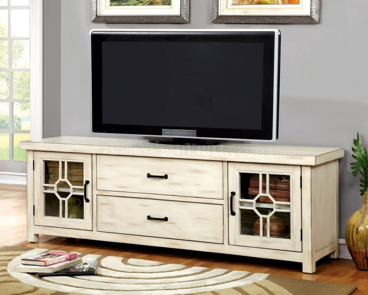 Ridley cm5230 tv console in antique style white w optional White tv console
