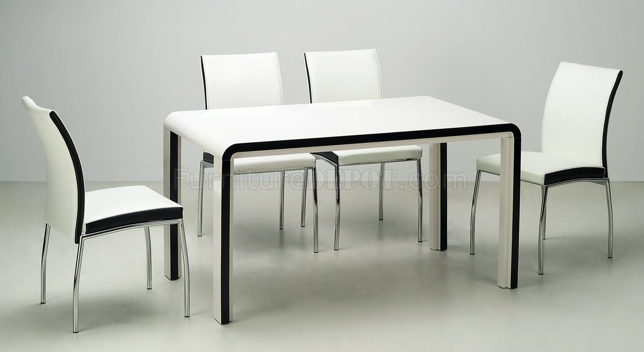 Black beige modern dining room table w optional chairs for Modern dining table