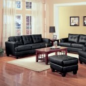2 Pc Black Bonded Leather Stylish Sofa & Loveseat Set