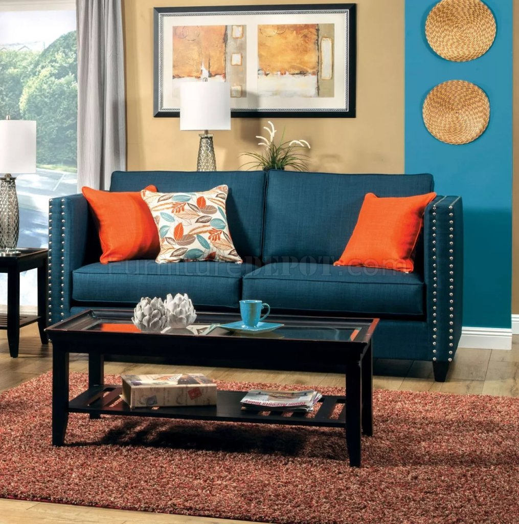 Palermo Sm4001 Sofa In Dark Teal Fabric W Options