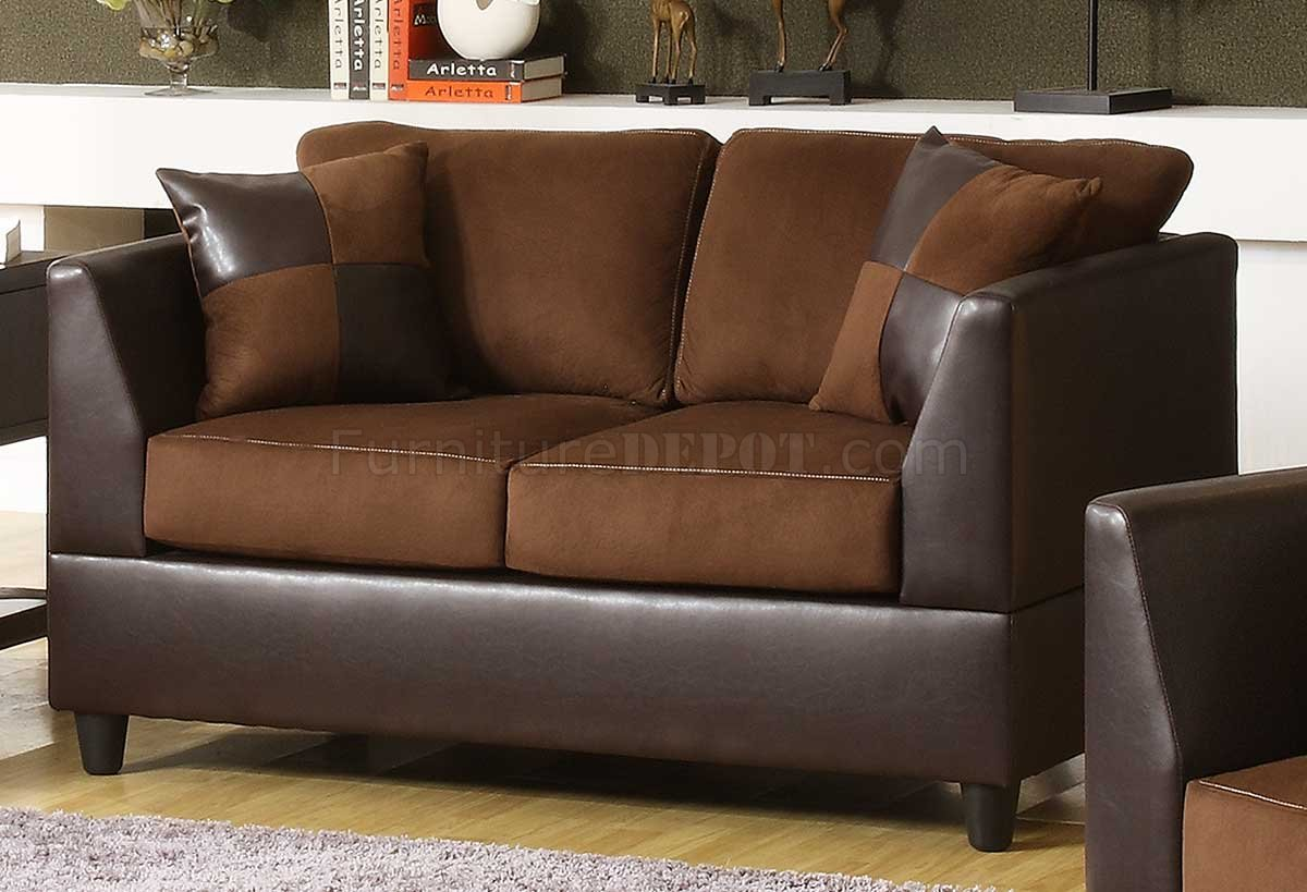 Chocolate rhino microfiber dark brown bi cast sofa w options Brown microfiber couch and loveseat