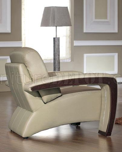 beige leather modern 3pc living room set wespresso wood trim