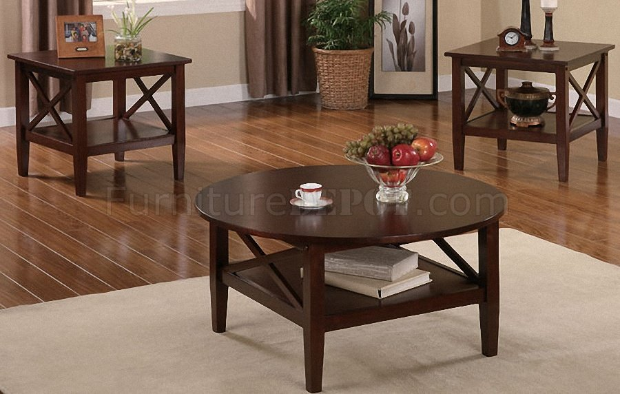 Dark Brown Finish Modern Artistic 3pc Coffee Table Set