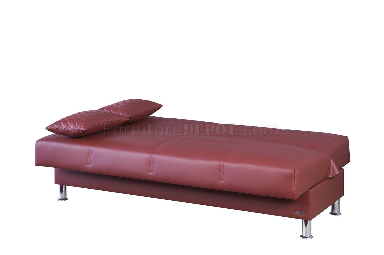 Zen Sofa Bed Eco Rest Sofa Bed In Zen Burgundy Leatherette By Casamode