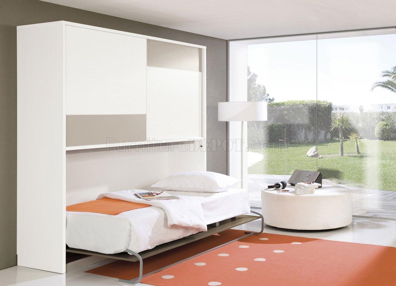 White Amp Taupe Two Tone Modern Horizontal Folding Bed W