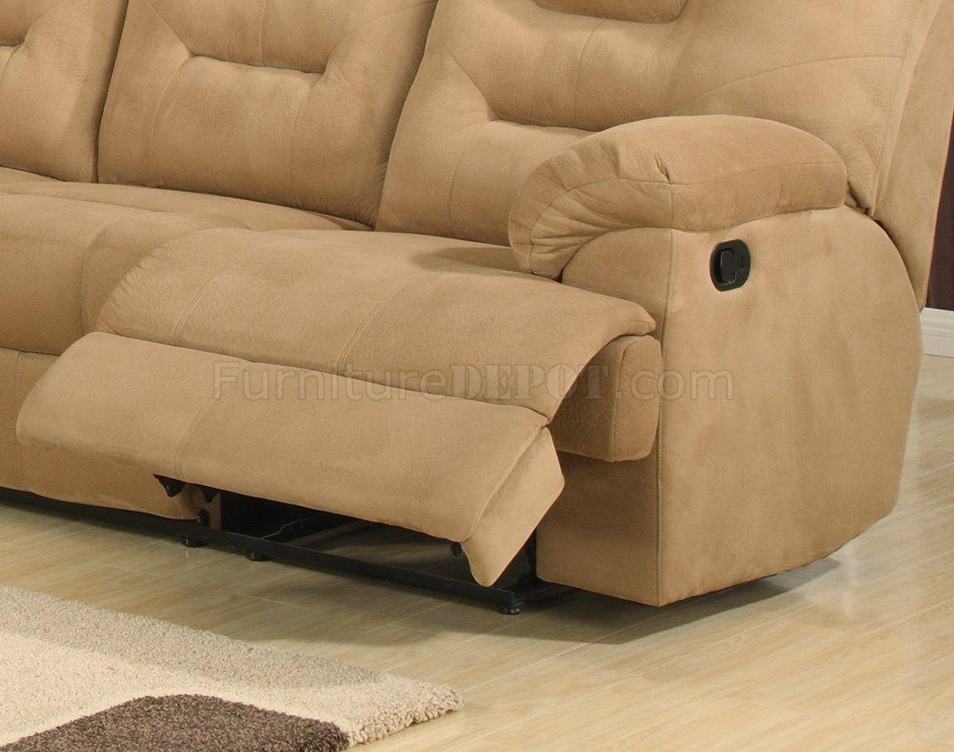 Beige Easy Rider Plush Fabric Modern Reclining Sectional Sofa