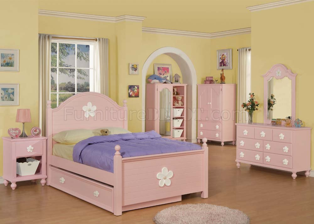 Floresville Pink Kids Bedroom 4Pc Set 00730 by Acme w/Options