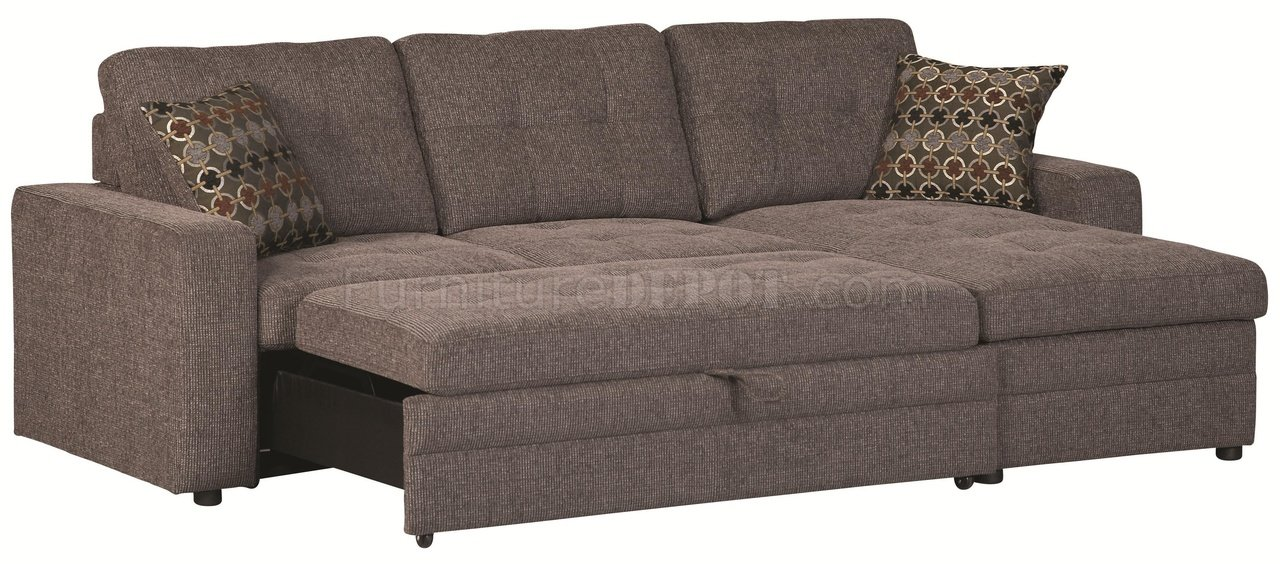 501677 gus sectional sofa by coaster in fabric w sleeper for Gus sectional sleeper sofa