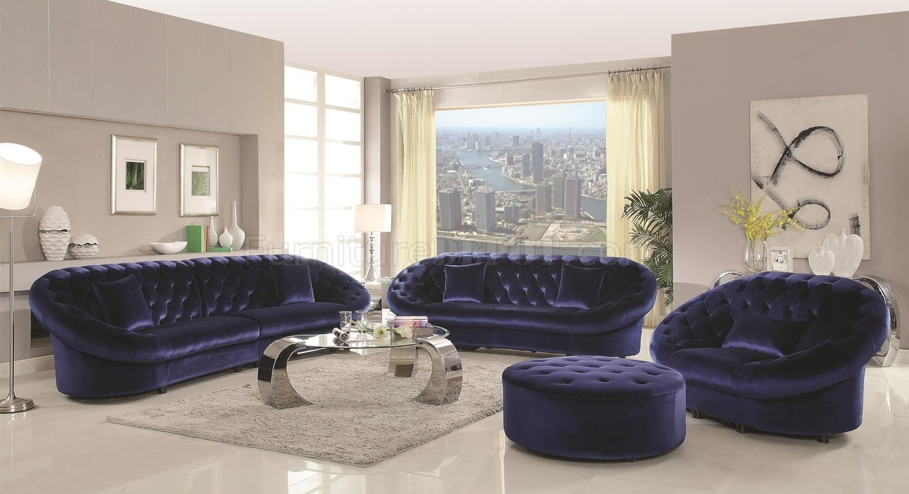 Magnificent Romanus 511041 Sectional Sofa In Blue Fabric Coaster W Options Download Free Architecture Designs Scobabritishbridgeorg