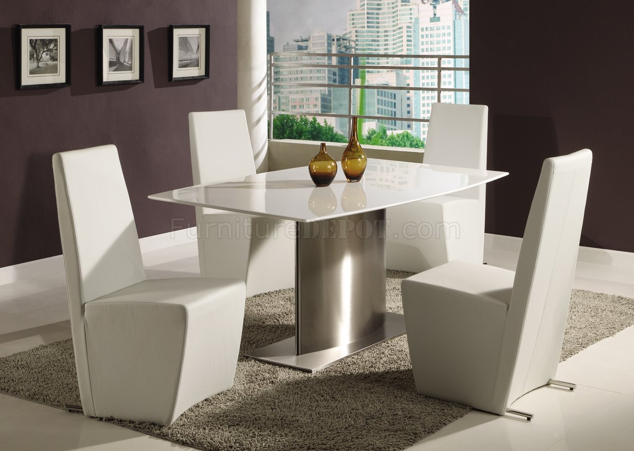 Modern Dining Room Table w/White Marble Top & Steel Base