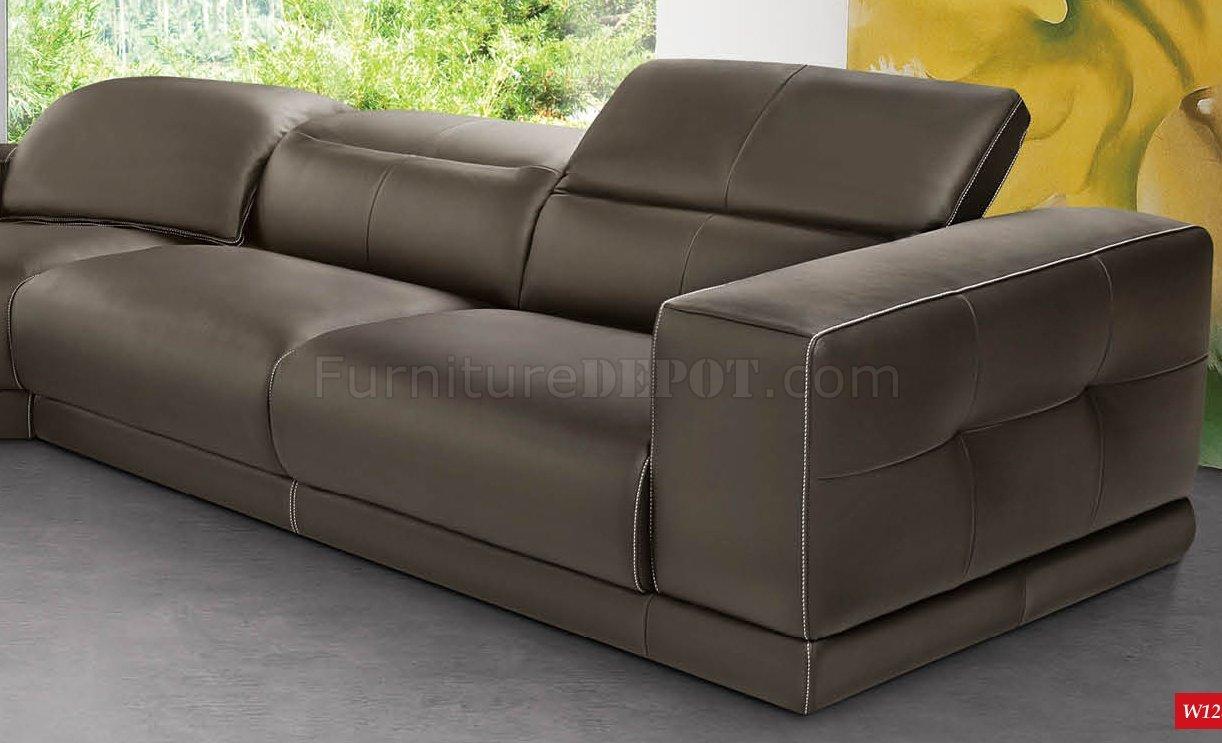 Brown Full Italian Leather Modern Stylish Sectional Sofa