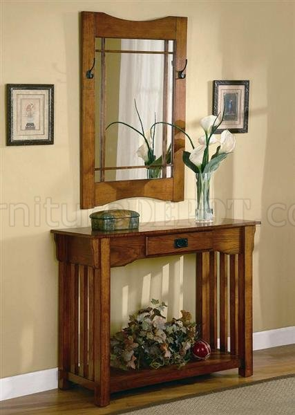 Oak Finish Mission Style Entry Way Table Amp Mirror