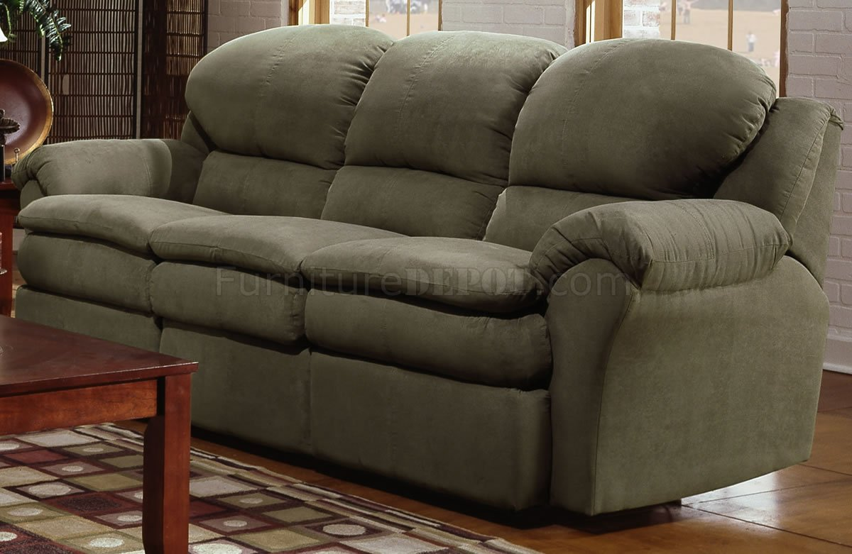 Olive Microfiber Modern Double Reclining Sofa Loveseat Set