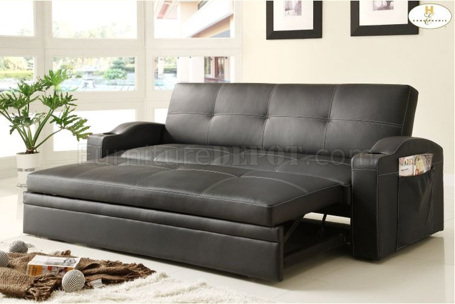 Novak Elegant Lounger Sofa 4803BLK by Homelegance w/Pull ...