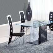 D1021DT Dining Set 5Pc w/803DC Black & White Chairs by Global