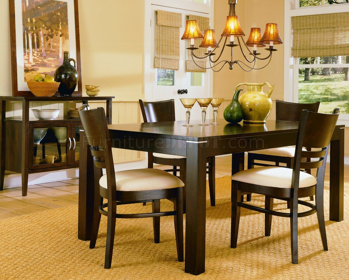Espresso casual dining room set 628 for Casual dining room sets