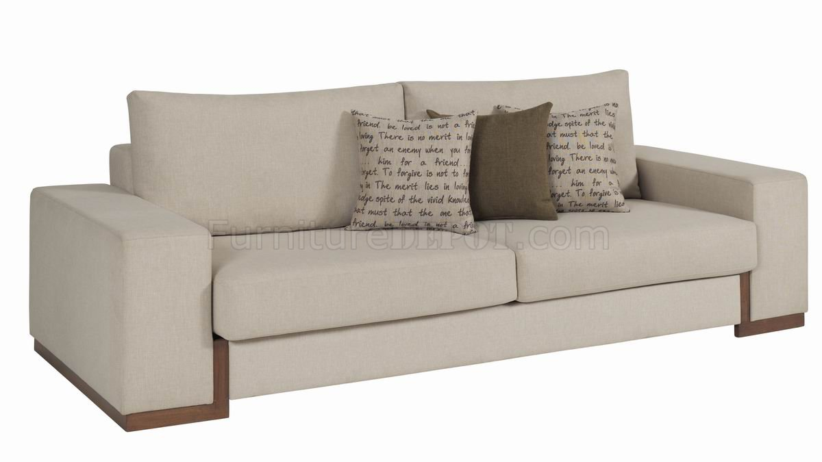 Cream fabric modern sofa bed loveseat set w options Cream fabric sofa