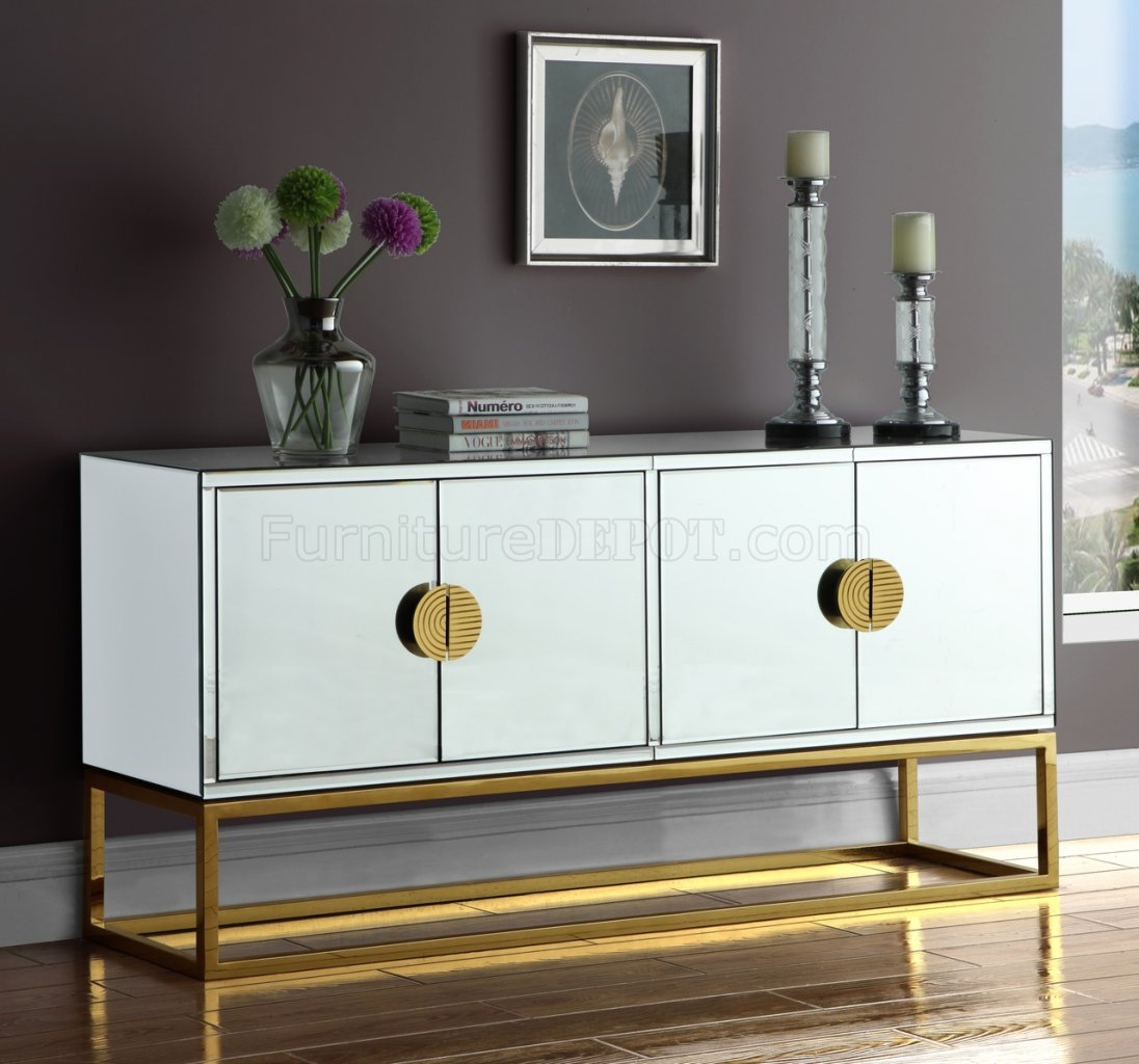 Marbella Buffet 302 Mirrored By Meridian W Gold Tone Base