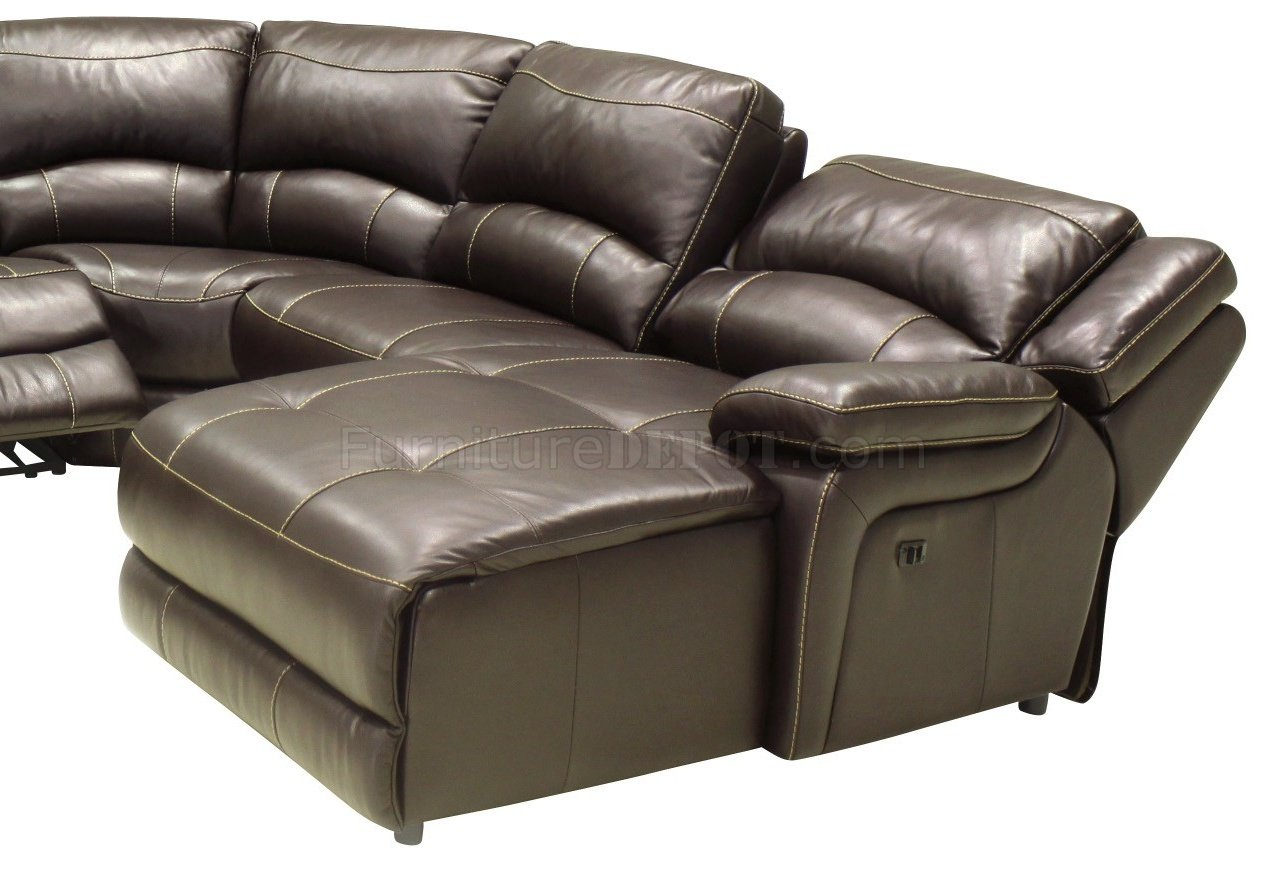 Mahogany Full Leather 6PC Modern Reclining Sectional Sofa