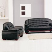 7174 3Pc Sofa Set in Black Bonded Leather by VIG