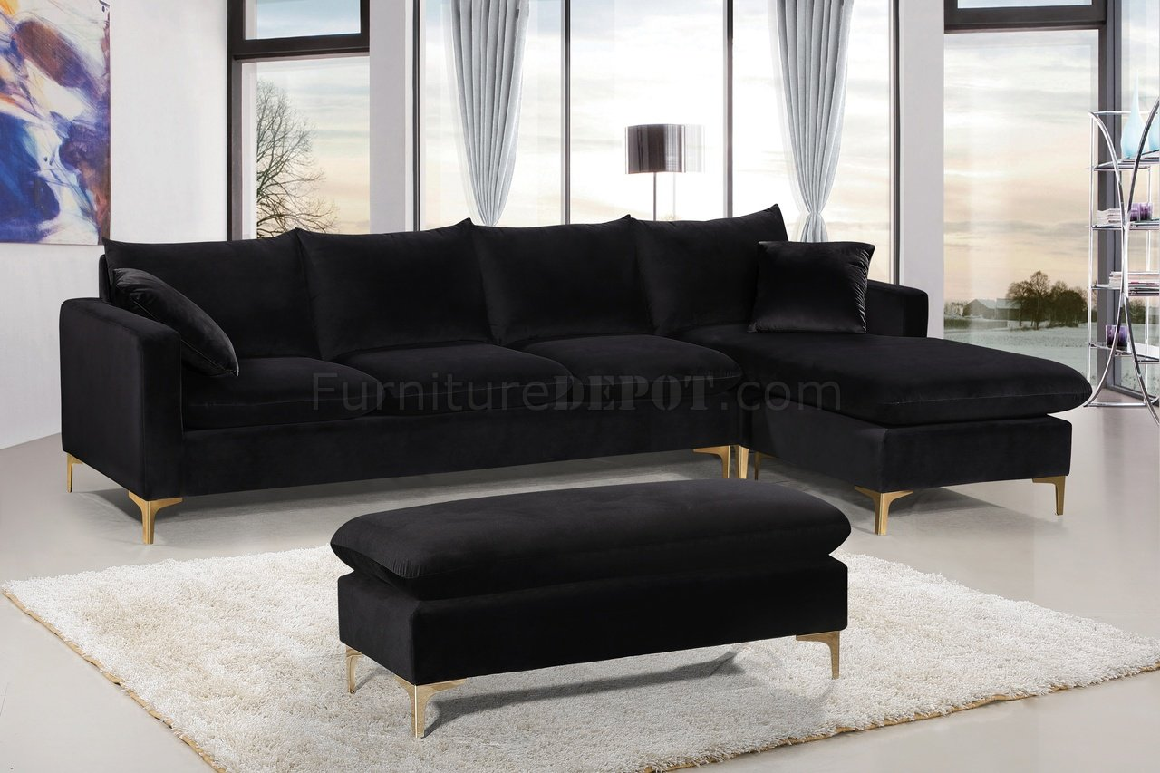 Naomi Sectional Sofa 636 in Black Velvet Fabric by Meridian