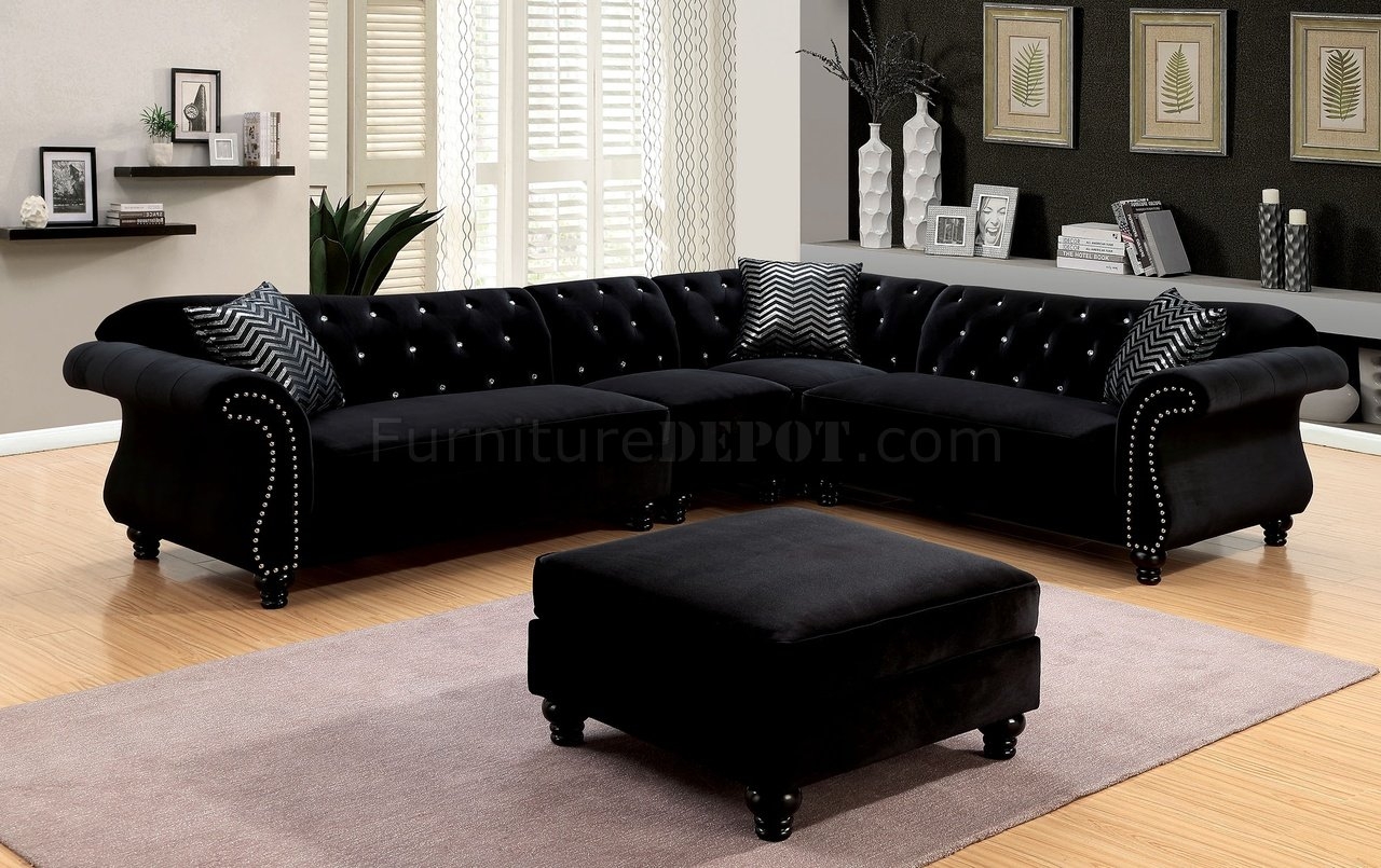 Jolanda ii sectional sofa cm6158bk in black fabric w options for Black fabric couches