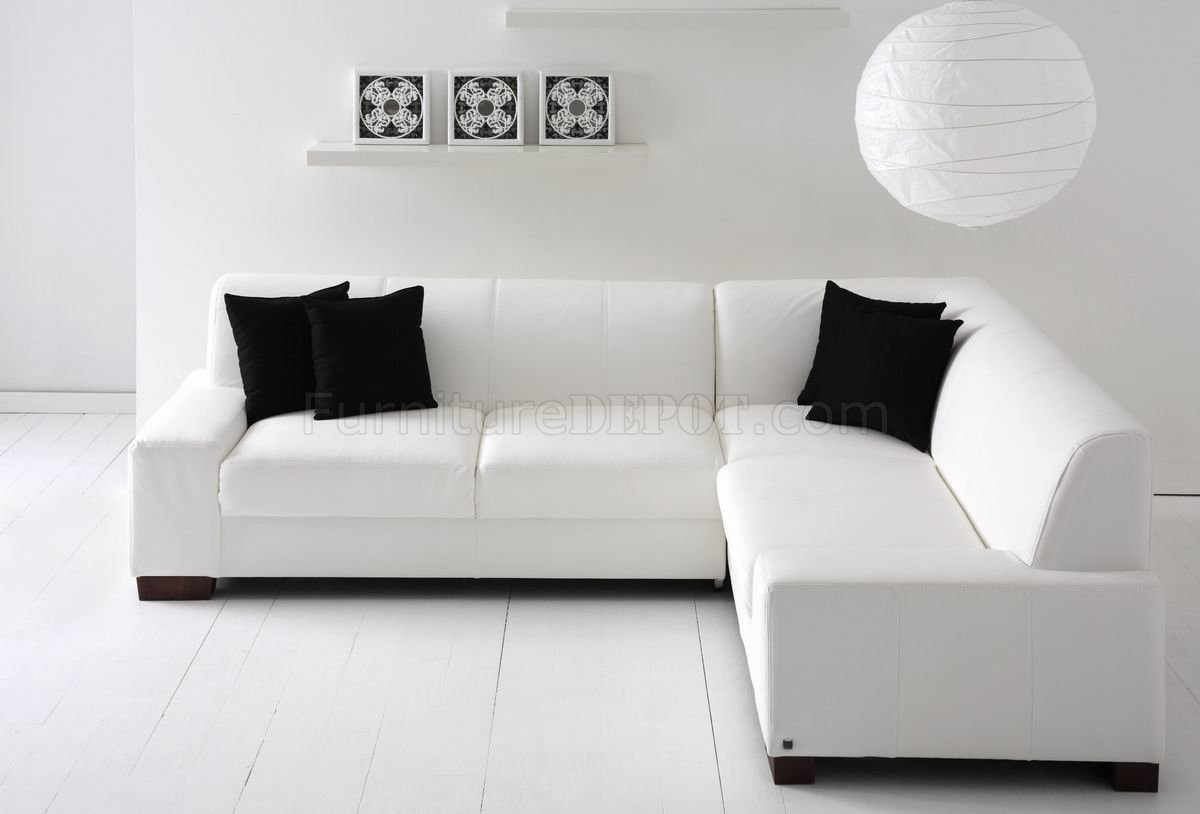 White Bonded Leather Modern Sectional Sofa W Wood Legs