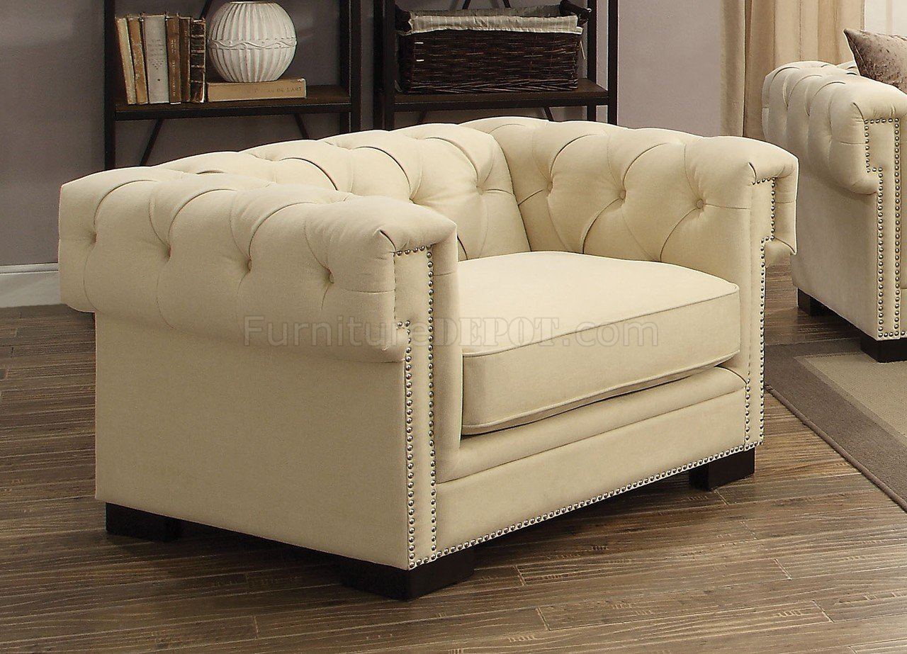 Eulalie fabric sofa 54245 in cream velvet by acme w options Cream fabric sofa
