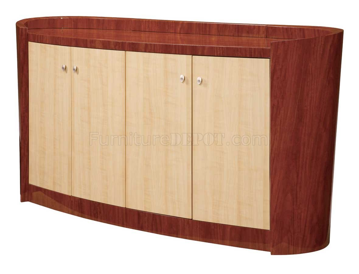 Maple and cherry high gloss finish contemporary buffet - Contemporary maple bedroom furniture ...