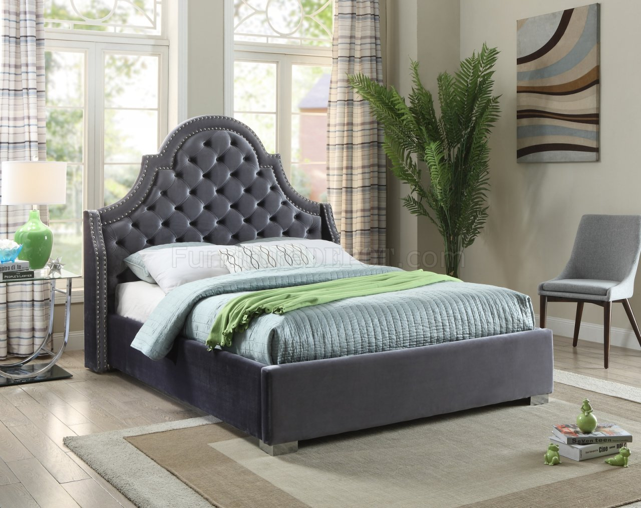 Madison Upholstered Bed In Grey Velvet Fabric W Options