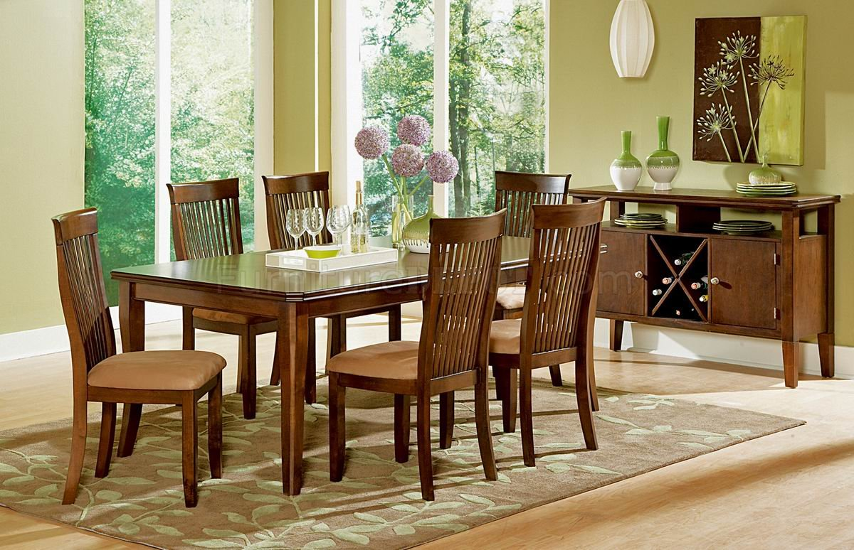 Oak Finish Modern Dining Table W/Optional Server & Chairs